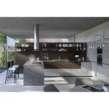 De hoge Keukenkasten van de Korrel van het Eind L-vormige Grijze en Donkere Houten