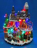 Décoration de Noël Polyresin 9'' la gare de LED avec la rotation de former et de 8 chansons de Noël
