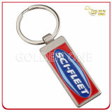 Promotion Gift Leather Key Fob avec un pinceau en métal blanc