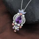 Weiße Perle Amythest Kristallzink-Legierungs-Form-Schmucksache-Halskette