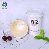 Copos de papel do café quente feito sob encomenda das bebidas da parede do dobro do preto da impressão