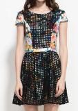 Senhora vestido de Renda Floral com mangas de tampa de curto Estilo de moda