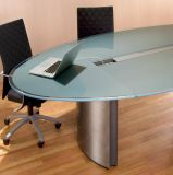 La Chine ovale bord poli plat en verre dépoli Retour peint une table de conférence haut de verre trempé