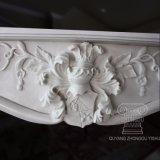 Classic lareira em mármore e contorno, Mantel e Figural Carviings Floral