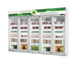 Chiller vertical bebida Exibir frigorífico/Frigorífico vegetal comercial vertical da porta de vidro