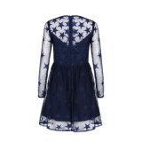 Noircir A - ligne robe de soirée courte de longues dames de chemises de lacet