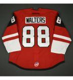 Новая мужская дети женщин Echl Рапид Сити Rush 7 - день начальник 88 Райан Walters с вышитым белого цвета красный дешевые хоккей футболках Nikeid Goalit разрез
