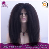Kinky recto/Yaki cabello virgen Brasileña de encaje completo peluca