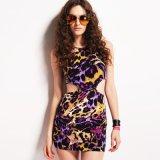 Frauen-Sommer-Jersey-runder Stutzen-Sleeveless Kleid