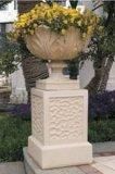 Flowerpot de sculpture en statue découpé par grès