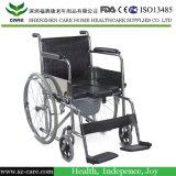 Alta silla trasera plegable de acero cromado de la PU de plástico con orinal con ruedas