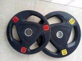 Levantamento de peso de Crossfit do equipamento da ginástica da aptidão placa da borracha da geada de 3 furos