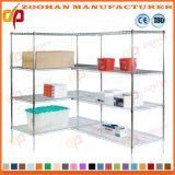 Chiffon de chrome métallique des étagères de stockage d'affichage sur le fil de l'organisation d'étagères (Zhw147)