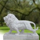 Escultura blanca de la estatua de mármol del león, escultura animal