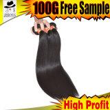 Cabelo brasileiro não processado humano reto do cabelo 100%