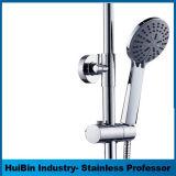 インチの浴室のシャワーセットのための弁のコックが付いている超薄いステンレス鋼円形LEDカラー変更のシャワー・ヘッド