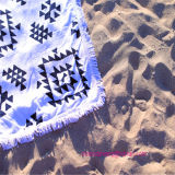 Pure Cotton Square Printing Serviette de plage avec bordures de glands