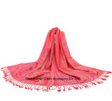 Mode Femmes Long Soft Wrap Jacquard Scarf of Peony Pattern