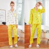 La seda dormir señoras Manga Larga Housewear nuevos pantalones de traje dos piezas de manga larga pantalones