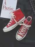 Ins peste vermelha vulcanizada mulheres sapatos de lona superior alto