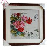 Bordados de arte para a Colagem de mão de pintura Peony Flower pendurar na parede de personalização