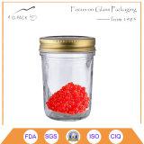 Vaso di vetro affusolato classico del caviale con metallo