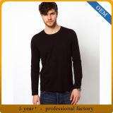 T-shirts ronds de collet de long de la chemise des hommes faits sur commande noir de plaine