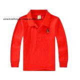 子供の純粋なカラー長い袖のポロのTシャツ