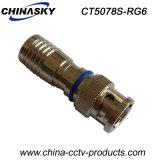 Connecteur BNC à compression manuelle CCTV étanche pour câble RG6 (CT5078S / RG6)