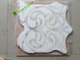 Mattonelle di pavimento di marmo di pietra bianche poco costose del mosaico di arte per la stanza da bagno