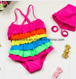 Kids Girl's Swimming Pleated Skirt Biquíni, Lace Lovely Swimming Suit