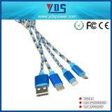 Cobrar rápido do cabo de 3 dados do USB In1 com o tipo C