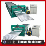 Rodillo de aluminio acanalado popular de la hoja del material para techos que forma la máquina