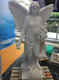 White Marble Lady Statue Angel Sculpture Headstone for Cemetery