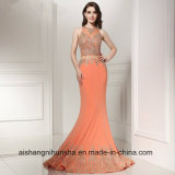 Sexy dois pedaços de Lace Mermaid Crystal Long Prom Dress