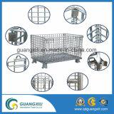 Conteneur galvanisé pliable et empilable de treillis métallique pour la mémoire d'entrepôt