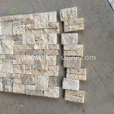 Бежевые стены типа травертина укладки камня, камня, камень шпона