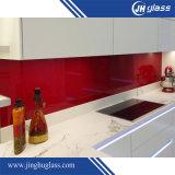 Vidro ultra claro pintado brilhante vermelho para o painel Splashback