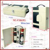 Accessorio di cuoio del vino della cassa del vino delle 2 bottiglie (5863R1)