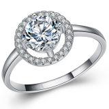 925純銀製のリングの宝石類CZの金版