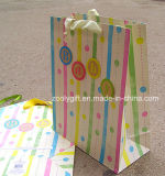 Saco levantado Glitter do presente da impressão da grão do saco de papel de embalagem do presente do bebê da impressão