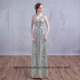FrauenSequin V-Stutzen Sleeveless reizvolles Abend-Partei-Abschlussball-Kleid