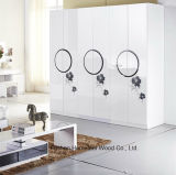 6 Pieces Fashion Wooden Bedroom Wardrobe Closet Set