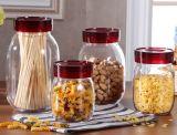 Articolo da cucina di vetro rotondo viola di immagazzinamento in il vaso dei coperchi 4sets