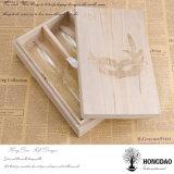 Rectángulos de empaquetado de madera grabados aduana de la botella de vino de la insignia de Hongdao con deslizar el _E de la tapa