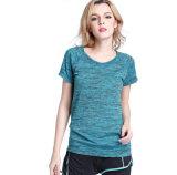 La forma fisica breve sottile di tintura del manicotto delle donne copre la maglietta di yoga