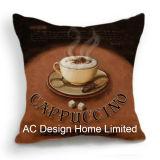 Квадратные кофе кофейный Дизайн ткань подушка с заполнением