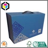 Caixa de embalagem de papel ondulado colorido com alça de plástico