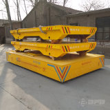 De Aanhangwagen van de Spoorweg van de Gietlepel van de Staalfabriek met het Gieten van Wielen