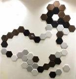 Azulejo de suelo de cerámica esmaltado brillante de la pared de construcción del material 150X173X87 de la porcelana gris clara hexagonal irregular del color para la cafetería (SM1715802)